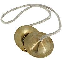 Indio instrumento musical–hecho a mano–Instrumento de percusión–Mano latón de Platillos Manjira par–diámetro aprox. 3cm