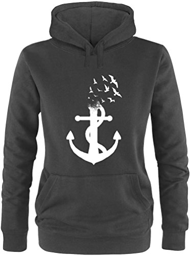 EZYshirt® Anker Ocean Damen Hoodie   Damen Kapuzenpullover   Damen Pullover
