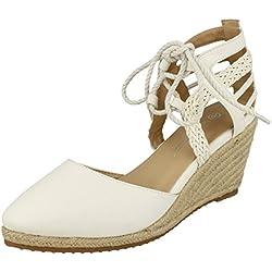 Anne Michelle Damen Keil-Sandale mit Schnürung (38 EU) (Weiß)