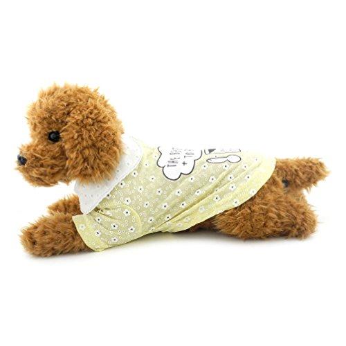 Katze Sweet Polo Kleidung Sommer Tops Hund Shirt Baumwolle Polo T-Shirt für Welpen Chihuahua T-Shirt Doggy Apparel Gelb M ()