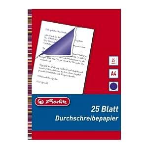 Herlitz 10303717 Lot de 25 feuilles de papier carbone pour écriture à la main A4 (Bleu) (Import Allemagne)