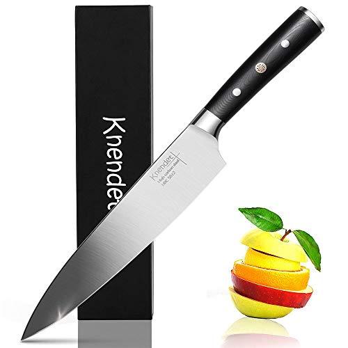 Knendet Couteau de Cuisine 20 cm, Couteau de Chef Professionnel Ultra Aiguisé avec Acier Inoxydable Allemand à Haute Teneur en Carbone, Bien Équilibré avec Poignée Ergonomique G10