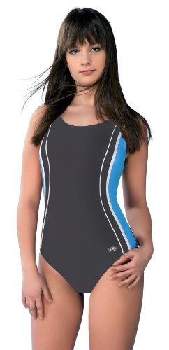 Gwinner Badeanzug Sportbadeanzug Schwimmanzug Bademode Damen einteilig sehr bequem und elastisch, mit weichen, herausnehmbaren Körbchen, aus hochwertigem Material made in EU Agata Grau - Grey - Graphite/Blau