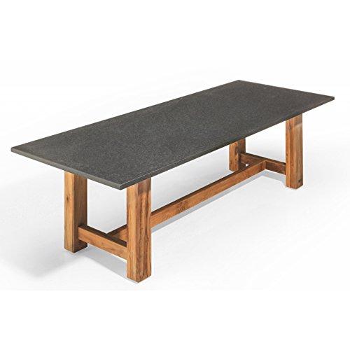 Studio 20 Voss Gartentisch 300 x 100 x 75 cm Outdoortisch Granittisch Teakholz Tischplatte Angola black geschliffen