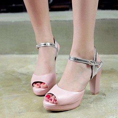 LvYuan Da donna Sandali Finta pelle PU (Poliuretano) Estate Autunno Footing Fibbia Quadrato Bianco Blu Rosa 7,5 - 9,5 cm blushing pink