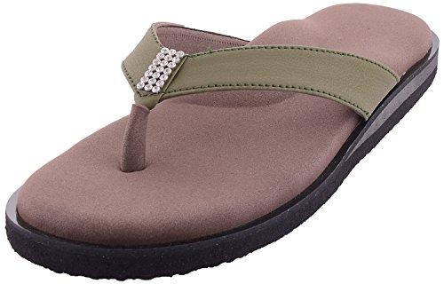 DIA ONE Brown Khaki Orthopedic Sandal Rubber Sole MCP Insole Diabetic Footwear for Women (Dia_34 Size 6-25 cm)