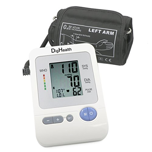 """41HkT4ABhEL - Automatic Digital Blood Pressure Monitor by DigHealth, Wide-range Upper Arm Medium Cuff (8.6-14.2""""),Medical Certified Accurate Meter,WHO Hypertension,Irregular Heart Beat Indicators,Portable for Home Reviews and price compare uk"""
