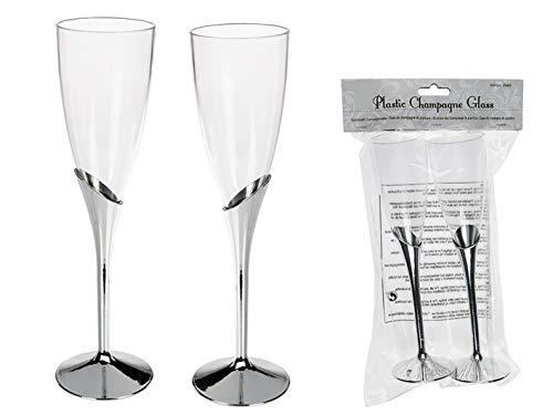 MC Trend 6, 12 oder 24er Kunststoff Gläser Champagner Sekt-Glas transparent mit silbernem Stiel Geburtstag Taufe Konfirmation Grillfeste Picknicks Catering Betriebsfeiern (24 Gläser) - Kunststoff Champagner