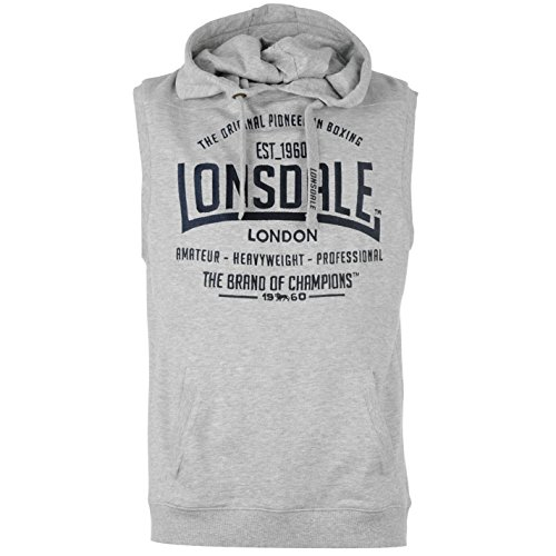 Lonsdale Herren Boxing Aermellos Hoody Weste Hoodie Kapuzenpullover Sweatshirt Grau XX Large