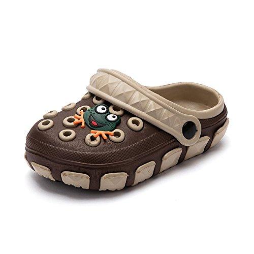 Kleine Tomate Unisex Kinder Hausschuhe Kinder Clogs Gartenschuhe Bequemer Atmungsaktiv Strand Aqua Slippers, Braun+Beige, Gr. 33(Schuhe Innenlänge:19.8cm)