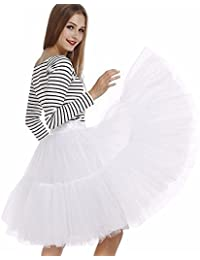 Imixcity Falda de Tul de Princesa de la Falda del Doble 50s de la Vendimia Traje de Falda de Disfraz Mujer Enagua Oscilación Tutú Organza Falda de Ballet Pettiskirt Vestido de Rockabilly con 6 Capas