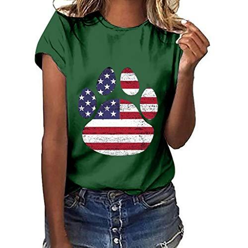 LSAltd Mode Frauen Sommer Amerikanische Flagge Hund Klauen Druck Freizeit Kurzarm Tops Bluse T-Shirt