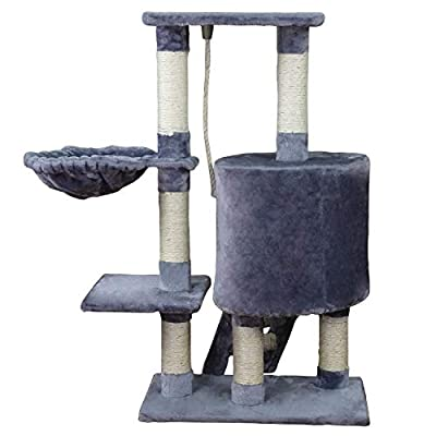 Wellhome Cat Tower Cat Tree Activity Centre Sisal Covered Cat Scratch Post with Hammock and Perches Platform 96cm from Wellhome