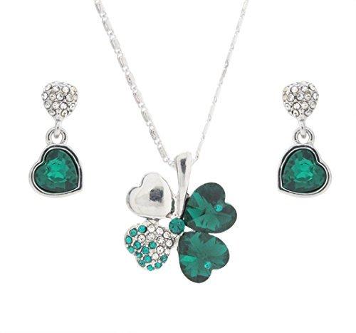 �n Kristall Lucky Clover Anhänger Halskette und Herz Drop Ohrringe Set ()