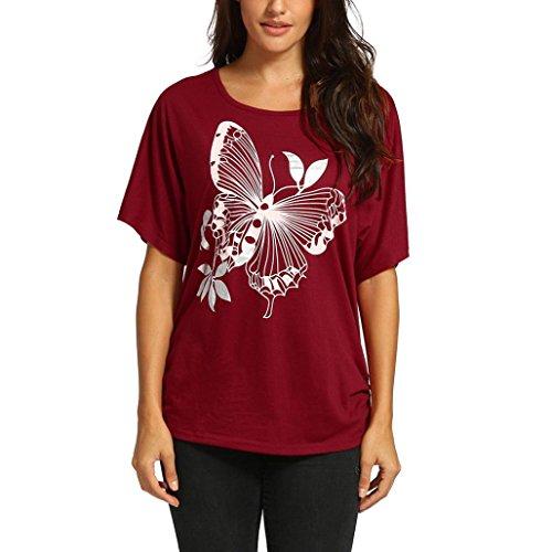 OSYARD Damen Übergroßes Baggy Butterfly Pailletten Print Kurzarm Top Shirt(EU 40/M, Wein) (Wein Themen Kostüme)