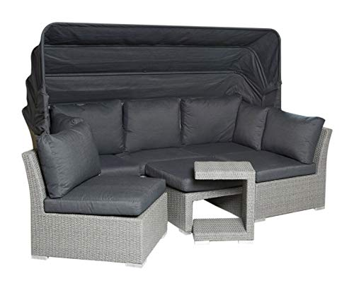 Wholesaler GmbH LC Garden Muschel-Set Loungebank Modesto Relax grau 5 teilig Polyrattan