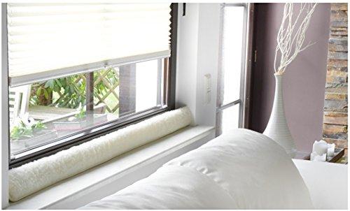 Emanhu Trading Schurwoll-Zugluftstopper Fenster 100-150 cm/Schurwoll-Zugluftstopper Tür 80-100 cm selbstklebendes Klettband (Natur, Fenster 150 cm)