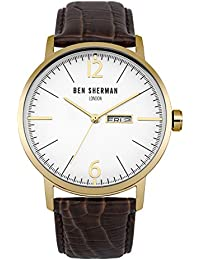 Ben Sherman Men's Quartz Watch with White Dial Analogue Display and Brown Leather Strap WB046TG