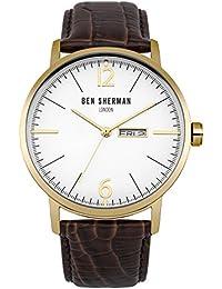 Ben Sherman Herren Quarz-Uhr mit weißem Zifferblatt Analog-Anzeige und braunem Lederband wb046tg
