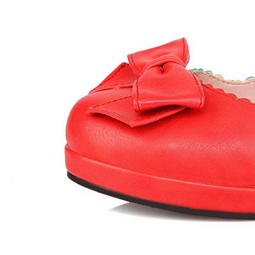 D-BalaMasa cinturino alla caviglia, con tacco Kitten materiale morbido pompe-Shoes Red