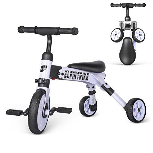 besrey 2 in 1 Laufrad Kinder Laufrad Lauflernrad mit Pedal Dreirad Kinder Fahrrad zusammenklappbar ab 12 Monaten bis 36 Monaten Weiß ...