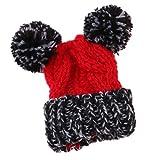 MagiDeal Gestrickte Wollmütze Ski Cap Plüsch Ball Hut Für 12 Zoll Puppe Winter Zubehör - Rot