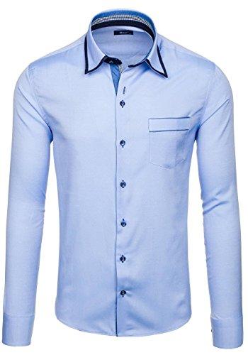 BOLF Langarm Herrenhemd Hemd Men Herren Figurbetont Freizeit Classic 6902 Hellblau