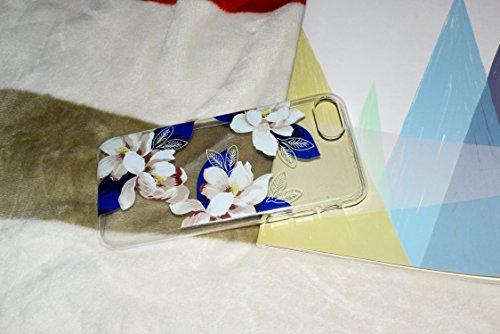 Felfy Coque Pour iPhone 7,iPhone 7 Coque en Silicone Transparent,iPhone 7 Etui Ultra Mince Slim Silicone Cristal Clair Etui Campanule Motif Housse Soft Case Gel Protective Cover Flexible Souple Cas TP Bleu Fleur case