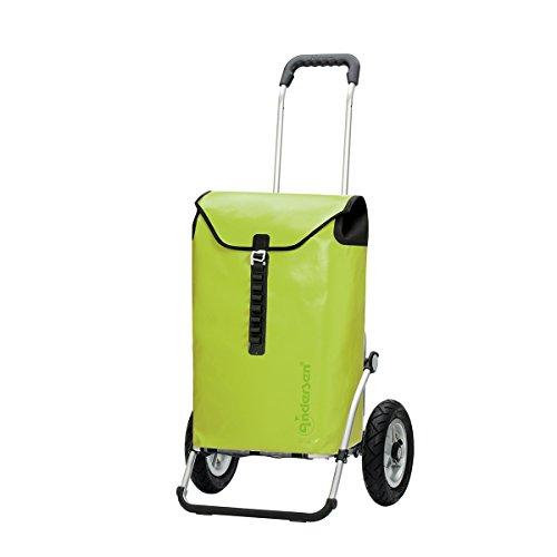 Andersen Chariot de courses Royal Ortlieb avec sacoche vert citron, volume 49L, cadre aluminium et roues pneumatiques