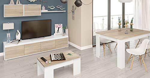 Pack salón completo en color blanco artik (mate) y color roble canadian. Este conjunto de mobiliario para comedor incluye: mueble de salón modular, mesa de centro elevable y mesa de comedor extensible. Muebles para salón funcionales y de diseño moder...
