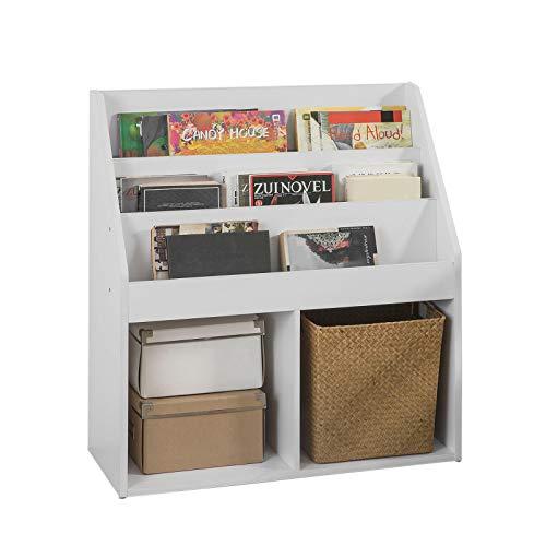 SoBuy® KMB01-W Bücherregal für Kinder Zeitungsständer Aufbewahrungsregal mit 3 Ablagefächern und 2 offenen Fächern, BHT ca.: 73x80x30cm -