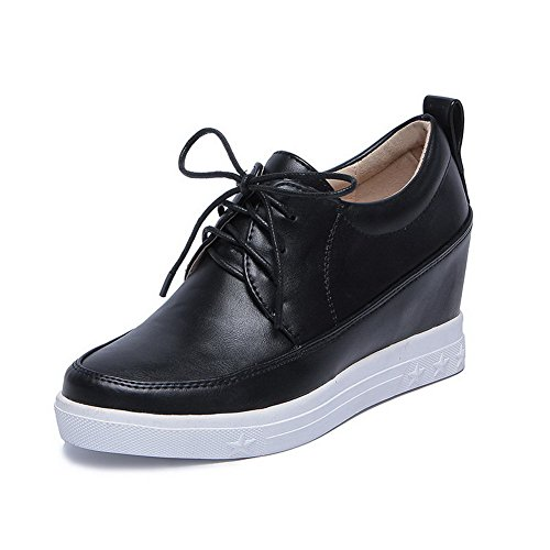 VogueZone009 Femme Couleur Unie Pu Cuir à Talon Correct Rond Lacet Chaussures Légeres Noir