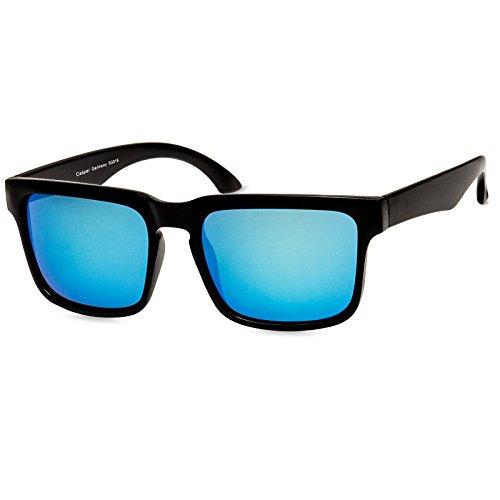 Caspar sg018 occhiali da sole wayfarer unisex , colore:nero / blu specchiato
