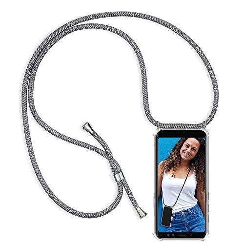 Coqin Handykette Kompatibel mit Xiaomi Mi Mix 2S Hülle, Smartphone Necklace Schutzhülle, mit Band Stylische Transparent Stoßfest Kratzfest Silikon Handyhülle - Schnur mit Case zum Umhängen in Grau