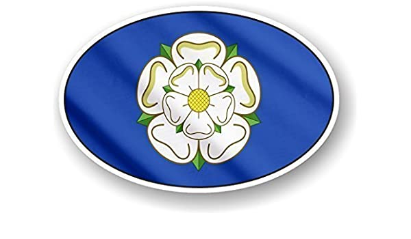 Yorkshire Oval Sticker Stickers White Rose of York Flag Car Van Decal