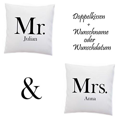 Doppelkissen Kissen 'Mr and Mrs' + Namen oder Datum Personalisiert / Name / Pärchen / Hochzeit / Jahrestag , Design:Design 1, Kissen:Premiumkissen