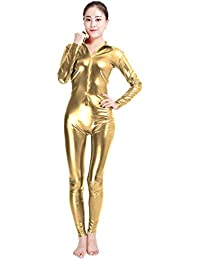 3be316374a27 NiSeng Adults and Children Shiny Catsuit Halloween Cosplay Tight Bodysuit  Unitard Faux Leather Zipper Playsuit Sexy