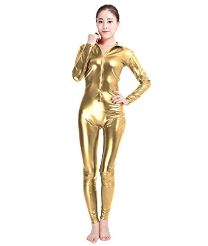 NiSeng Erwachsener und Kind Kostüm Catwoman Halloween Karneval Ganzkörperanzug Eleganter Jumpsuit Catsuit Bodysuits GoldS