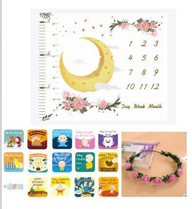 rgrund-Decke für Babyfotos 100 * 120cm + 8 Stück Baby Milestone Cards + Kranz, mit monatlichem Meilenstein-Druckmuster für Babyfotos Baby Dusche Geschenk Set ()