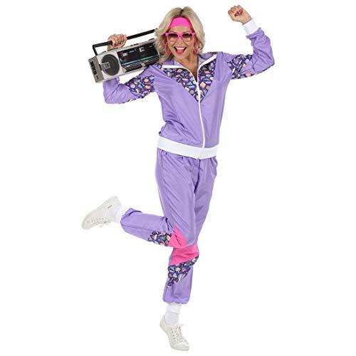 Kostüm Achtziger Frauen Jahre - Amakando Achtziger Jahre Kostüm für Frauen Assibraut / Violett in Größe XL (46/48) / Auffälliger Bad Taste Sportanzug für Damen geeignet zu Karneval & Fasching