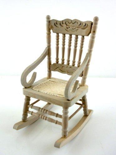 Sedia a Dondolo Legno di Quercia in Miniatura per Casa delle Bambole