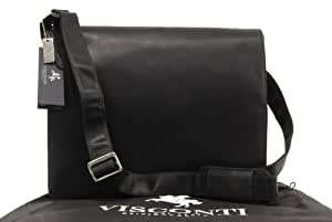 Visconti Leather Messenger Bag Workplace 18548 Harvard - Black