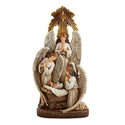 Christmas Season Figurines Weihnachtskrippenfigur Engel in Anbetung, Kunstharz, 33 cm