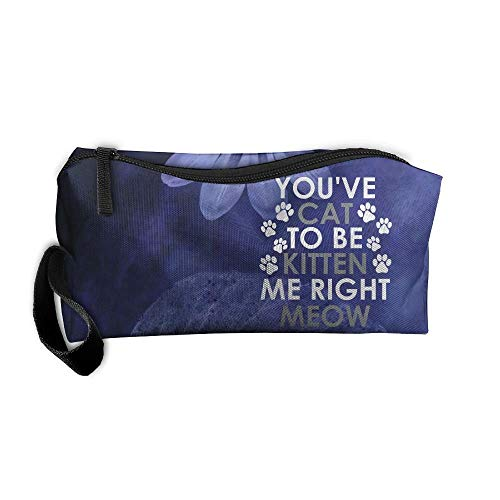 (You Cat To Be Kitten Me Right Meow Makeup Bag/Travel Cosmetic Bag/Brush Pouch Case With Zipper Carry Case)