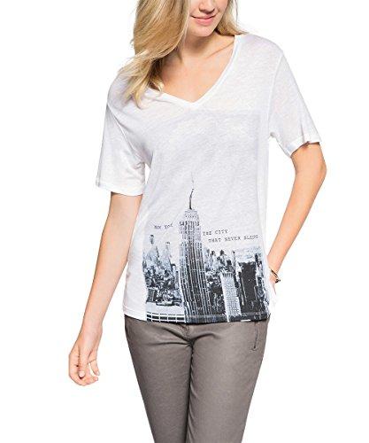 edc by Esprit Damen T-Shirt Gr. 38, Elfenbein – Gebrochenes Weiß
