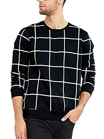 Maniac Men's Cotton Fullsleeve Checked T-Shirt (Black, Small)