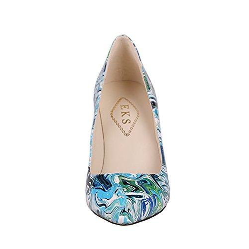 EKS - Scarpe con Tacco Donna Blau-Print