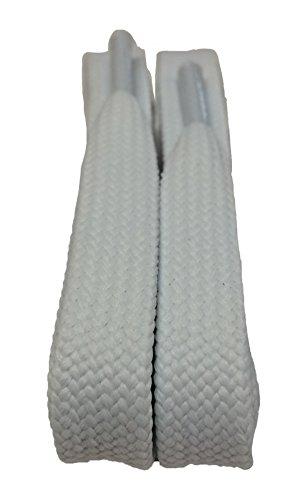 Big Laces Flache Schnürsenkel, 11mm breit, in vielen Farben erhältlich Weiß weiß