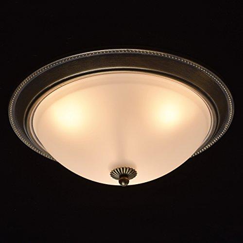 Runde Deckenlampe 3 flammig Klassisch Messing Weiß Glasschirm