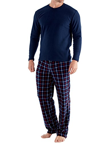 Herren Harvey James Thermo Top, Polar Fleece Hose Warm Pyjama Sets - Marine-Check, Herren, XXL (Fleece Set Pyjama)